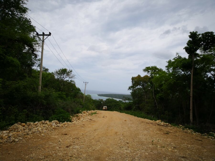 A view down the bumpy road to Tutuala, Jaco Island in the distance.