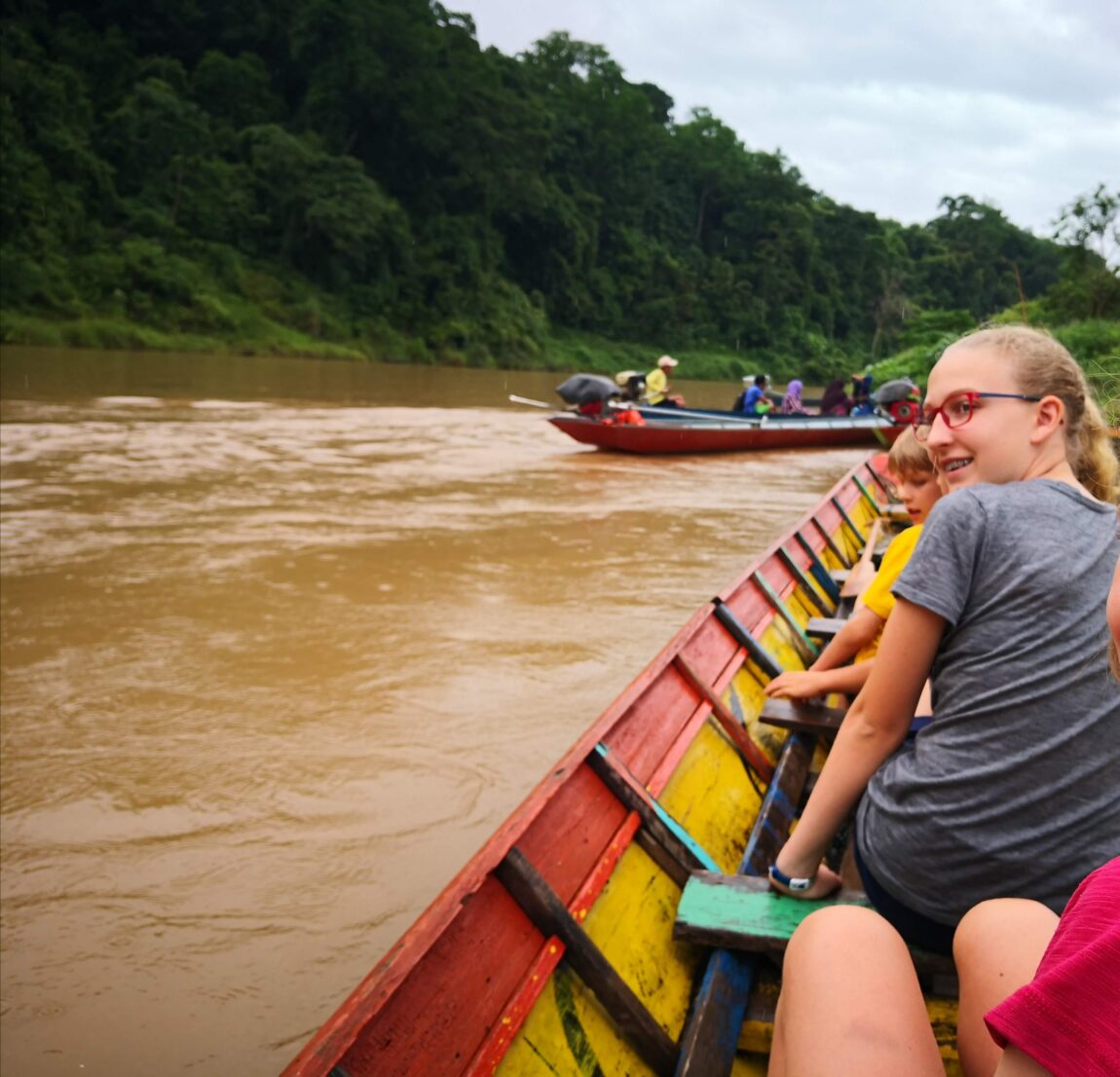 On a canoe on the Nam Khan river in Laos.